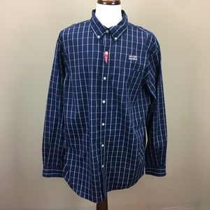 Chaps Navy Check Button Down Top